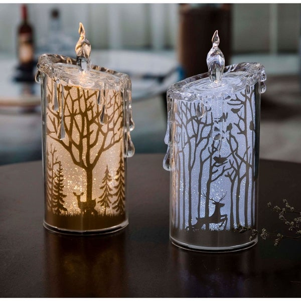 """Set of 2 Gold and Silver Glittering Scenery LED Lighted Candles Tabletop Decor 7.5"""" - N/A"""