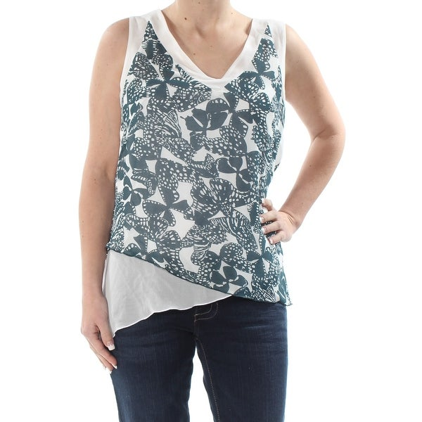 ANNE KLEIN Womens Teal Butterfly Print Sleeveless V Neck Top Size: 6