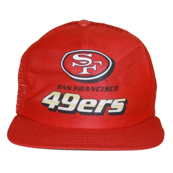 San Francisco 49ers NFL New Era Mesh Trucker Snapback Hat Red+GT Wristband 2f8e30937