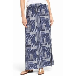 Caslon Blue Womens Size Medium PM Petite Geo-Print Maxi Skirt