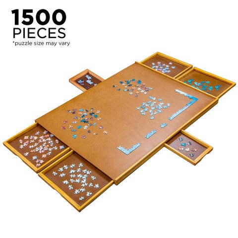 Jumbl 27 x 35 Wooden Jigsaw Puzzle Table Smooth Plateau Work Surface