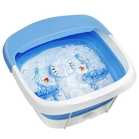 """Foot Spa Bath Motorized Massager with Heat Red Light-Blue - Blue - 14.5"""" x 16.5"""" x 8.5"""" (L x W x H)"""