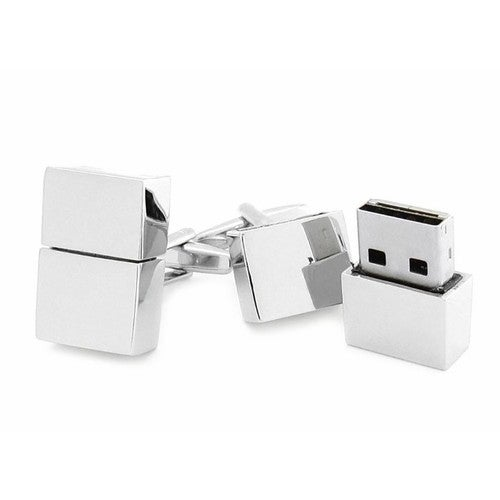 Usb Flash Drive Cufflinks In Silver Finish 8Gb