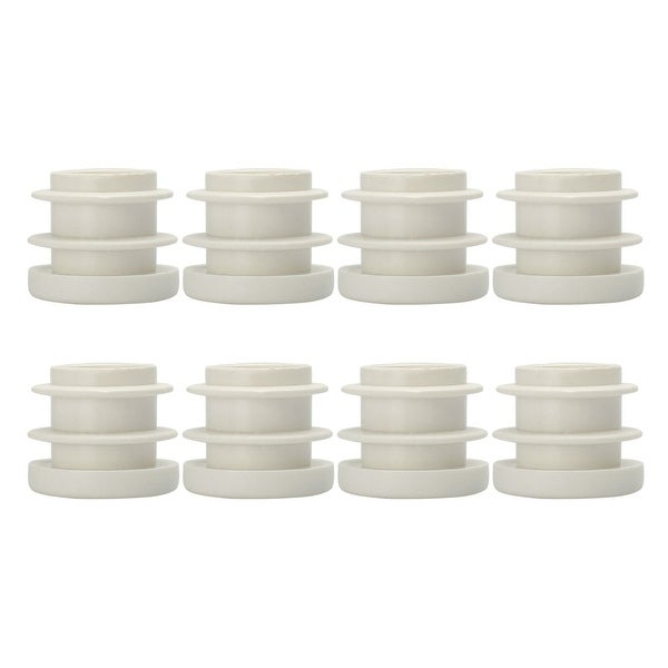 "5/8"" 16mm OD Plastic Round Ribbed Tube Insert Pipe Tubing End Covers Caps White 8pcs"