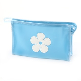 Traveling Polyester Flower Pattern Single Layer Cosmetic Container Bag Blue