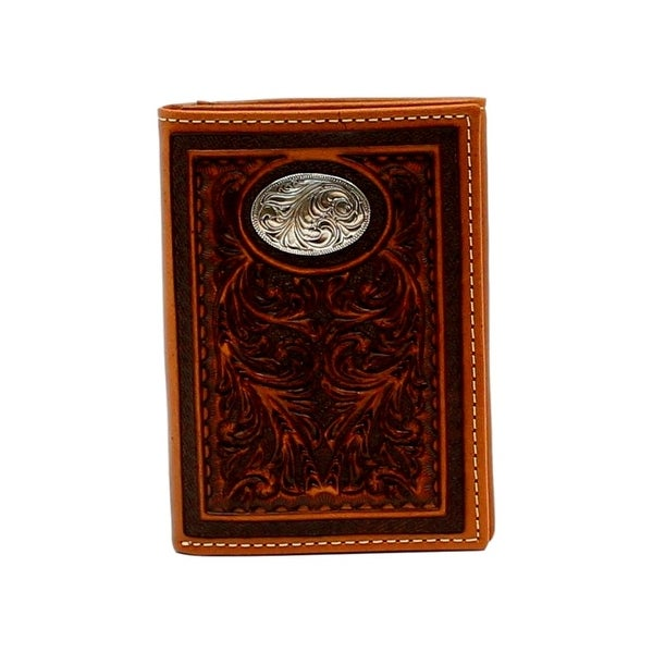 Nocona Western Wallet Mens Pro Series Trifold Tooled Tan - One size