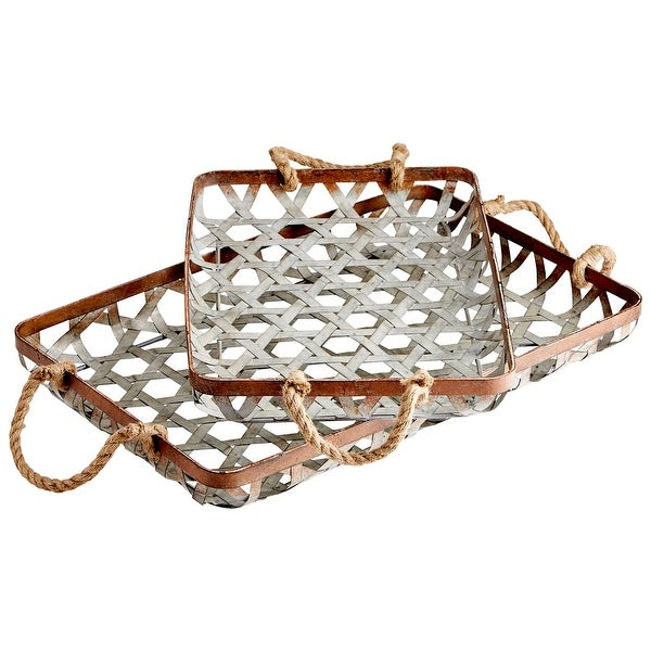 Cyan Design 09850 Prismo 2 Piece Metal Tray Set - Galvanized / Copper