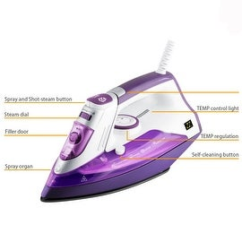 ZZ ES391-P 1500 Watt Steam Iron with Stainless Steel Soleplate and Detachable Water Tank, Purple