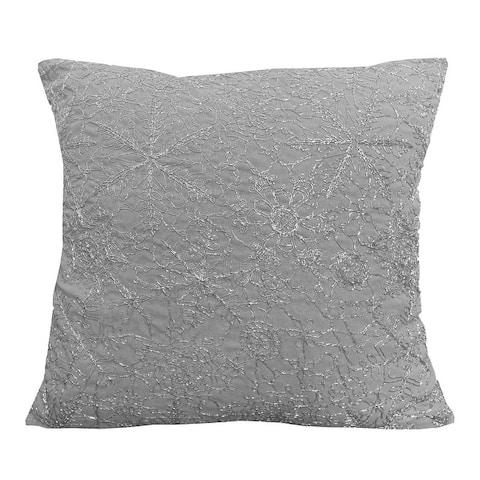 19x19 Vedia Snowflake Sequin Faux Linen Pillow