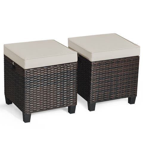 Outdoor Cushioned Rattan Wicker Ottomans (Set of 2)