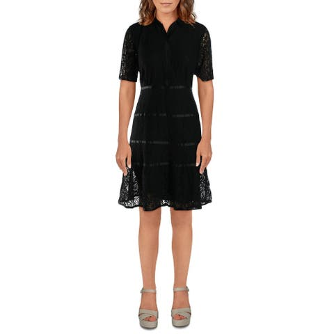 Nanette Nanette Lepore Womens Shirtdress Lace Sheer - Very Black - 10