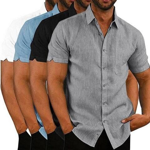 Men's Buttoned Linen Short Sleeve Shirt