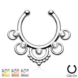 Five Rings with Center Gems Non-Piercing Septum Hanger (Sold Ind.)