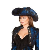 Captain Of The Night Pirate Hat, Black And Blue Pirate Hat - Blue/Black - One Size Fits most