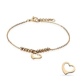 Dangling Heart and Multi Beads Chain Rose Gold Stainless Steel Anklet/Bracelet (13.5 mm) - 9.25 in