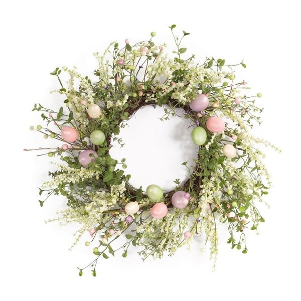 """Pack of 2 Easter Pastel Colored Egg and Berry Wreaths 22"""""""