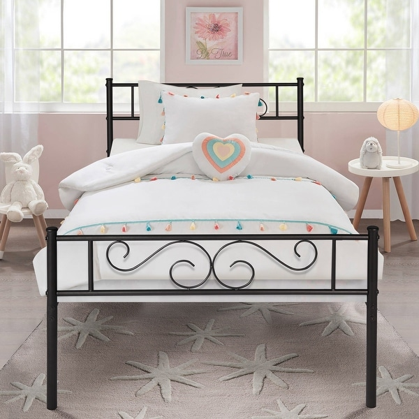 VECELO Twin-size Premium Modern Platform Bed With Headboard and Footboard