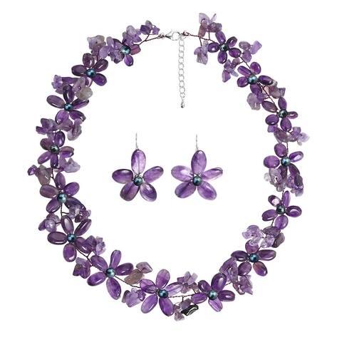 Handmade Amethyst Daisy Garland Floral Jewelry Set (Thailand)