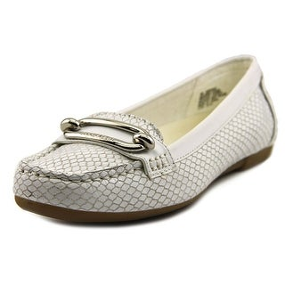 Anne Klein Noris Women Moc Toe Leather White Loafer