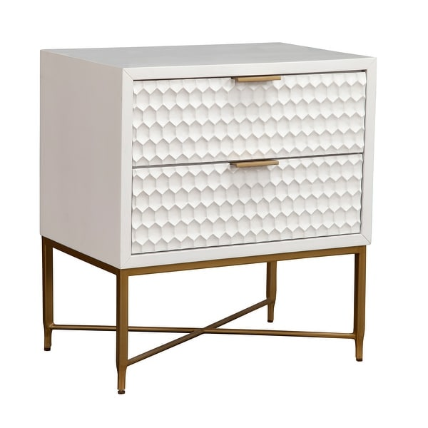 Origins by Alpine White Pearl Wood 2 Drawer Nightstand in White