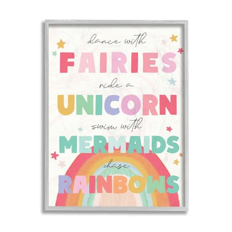 Stupell Industries Fairies Unicorns Mermaids and Rainbows Whimsical Design Framed Wall Art