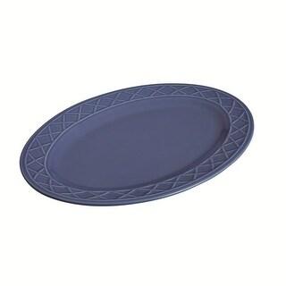 Paula Deen 59993 Dinnerware Savannah Trellis Stoneware Oval Serving Platter, Cornflower Blue - 10 x 14 in.