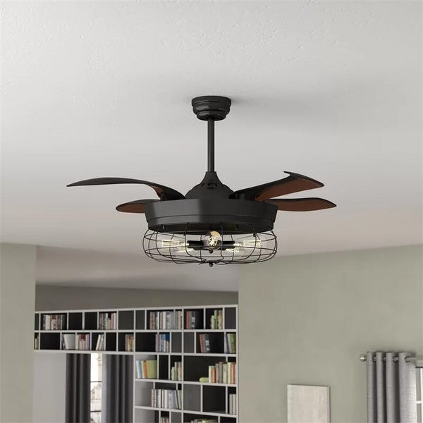 Shop Industrial 46 Inch Black 5 Light Edison Bulb Ceiling Fan On Sale Free Shipping Today