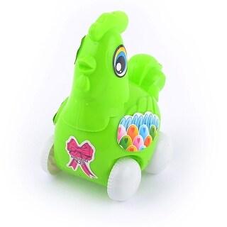 Kids Green Plastic Catoon Chicken Design 4-Wheels Pull String Toy