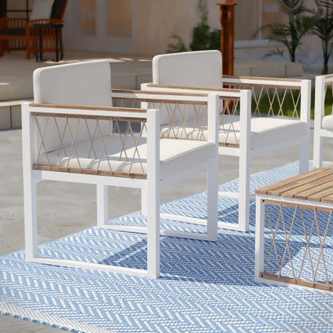 Natural Wood Outdoor Chairs (Set of 2)
