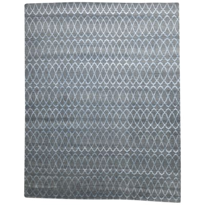 One of a Kind Hand-Knotted Modern 8' x 10' Trellis Wool Grey Rug - 8' x 10'
