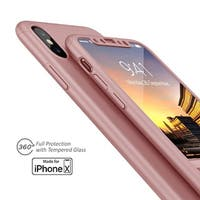Indigi Rose Gold Protective Case Cover w/ Tempered Glass For iPhone X