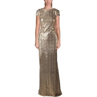 Badgley Mischka Womens Evening Dress Sequined Cowl Back