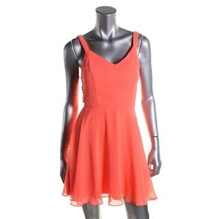 City Studio Womens Juniors Lattice Side Fit & Flare Party Dress
