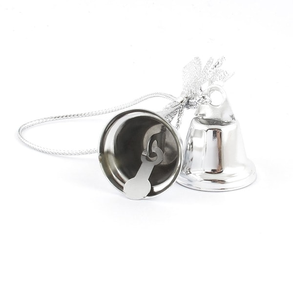 Unique Bargains Bow Detail Silver Tone 27mm Dia Christmas Tree Ring Bell Dangling Ornament