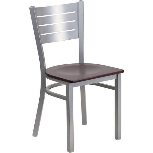 Dyersburg Silver Slat Back Metal Restaurant/Pub/Bar Chair w/Mahogany Wood Seat