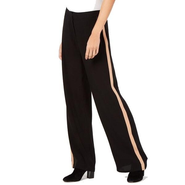 Eileen Fisher Women's Black Size 8 Striped Georgette Crepe Pants Silk. Opens flyout.