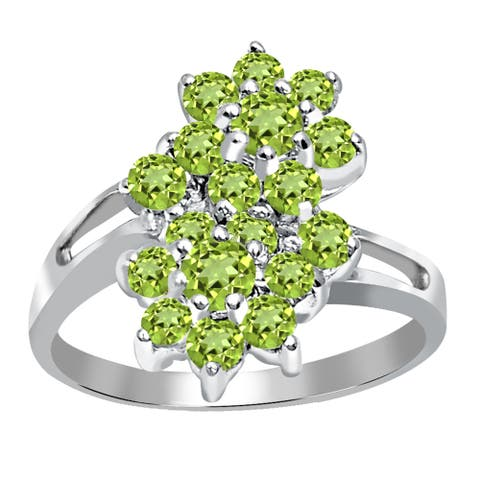 Peridot Sterling Silver Round Cluster Rings by Orchid Jewelry