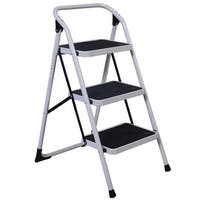 Costway 3 Step Lightweight Ladder HD Platform Foldable Stool 330 LB Cap. Saving Space - Black