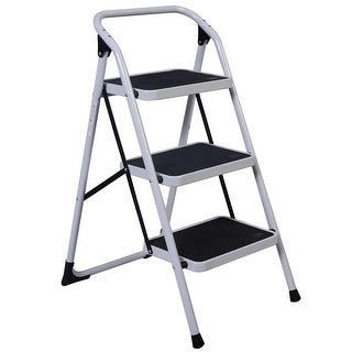 Costway 3 Step Lightweight Ladder HD Platform Foldable Stool 330 LB Cap. Saving Space