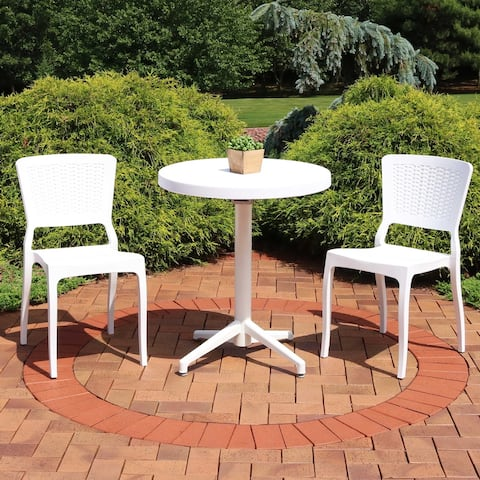 Sunnydaze All-Weather Hewitt 3-Piece Indoor/Outdoor Table and Chairs - White - White White