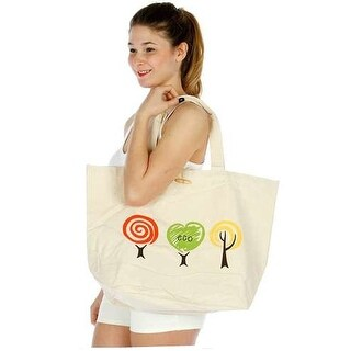 "Girls Tan Eco-Friendly Print Shoulder Strap Roomy Bag (21.5 X 15"") - One size"