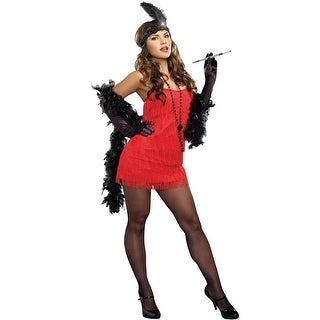 Dreamgirl Basic Flapper Costume (Red) - Red