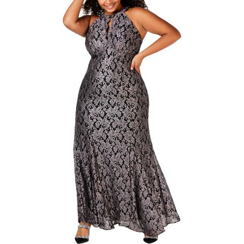 NW Nightway Womens Plus Evening Dress Glitter Lace Overlay