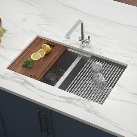 Ruvati 33-inch Workstation Ledge 50/50 Double Bowl Undermount 16 Gauge Stainless Steel Kitchen Sink - RVH8351