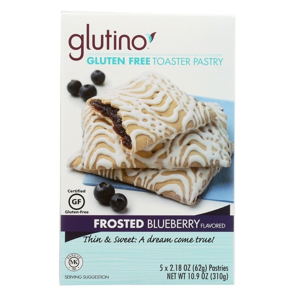 Glutino Frosted Toaster Pastry - Blueberry - Case of 6 - 10.9 oz.