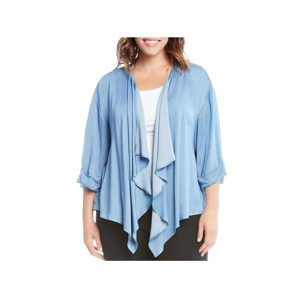 Karen Kane Womens Plus Cardigan Top Drapey 3/4 Sleeves