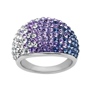 Crystaluxe Dome Ring with Purple-Lavender-White Fade Swarovski Crystals in Sterling Silver - Size 6 - Purple