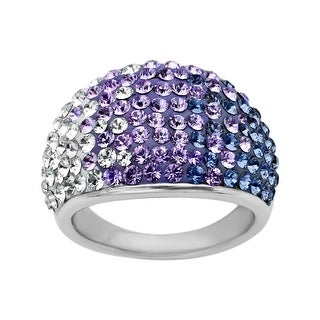 Crystaluxe Dome Ring with Purple-Lavender-White Fade Swarovski Elements Crystals in Sterling Silver - Purple