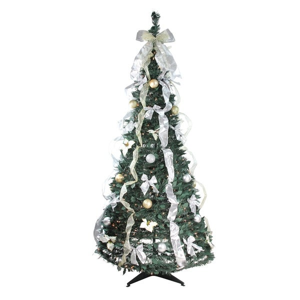 6 Pre Lit Slim Christmas Tree: Shop 6' Pre-Lit Slim Silver And Gold Decorated Pop-Up
