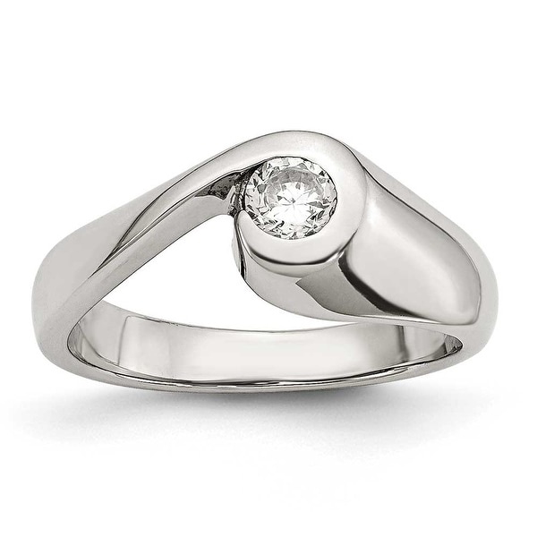 Chisel Stainless Steel CZ Ring